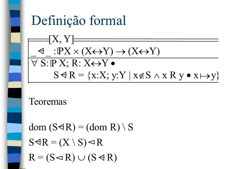 Definição formal [X, Y] _ _ : X  (XY)  (XY)  S: X; R: XY  P